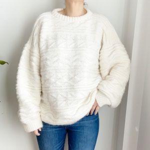 Handmade Boxy White Wool Blend Sweater Size XXL